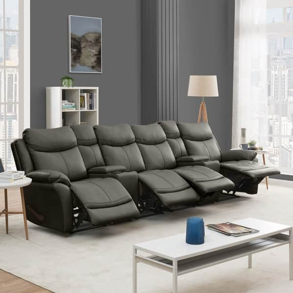 Shop Copper Grove Peqin 4-seat Faux Leather Recliner Sofa ...