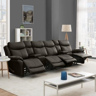 Copper Grove Peqin 4-seat Faux Leather Recliner Sofa with Power Storage Console