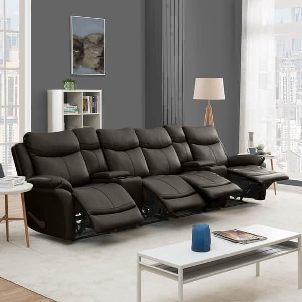 Shop Copper Grove Peqin 4-seat Faux Leather Recliner Sofa ...