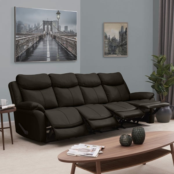 Shop Prolounger 4 Seat Faux Leather Recliner Sofa On Sale Free