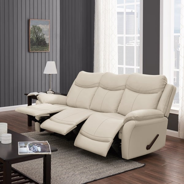 Shop Copper Grove Peqin 3-seat Faux Leather Recliner Sofa - On Sale ...