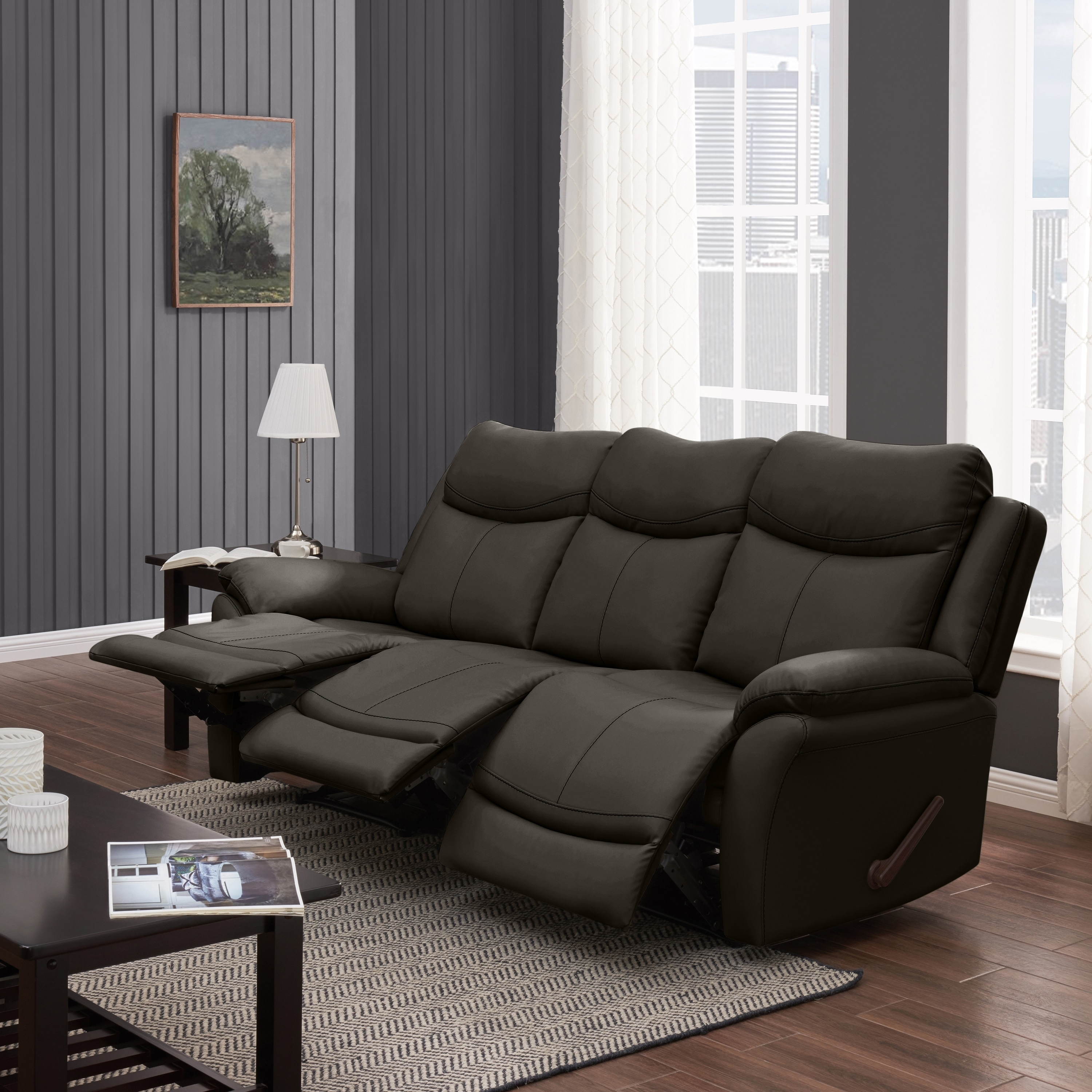 Details about Copper Grove Peqin 3-seat Faux Leather Recliner Sofa