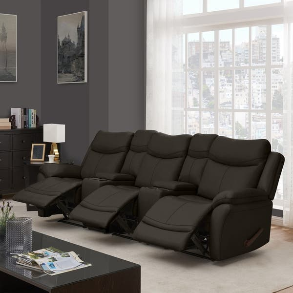 Shop Copper Grove Peqin 3-seat Faux Leather Recliner Sofa ...