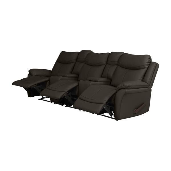 Surprising Shop Copper Grove Peqin 3 Seat Faux Leather Recliner Sofa Frankydiablos Diy Chair Ideas Frankydiabloscom