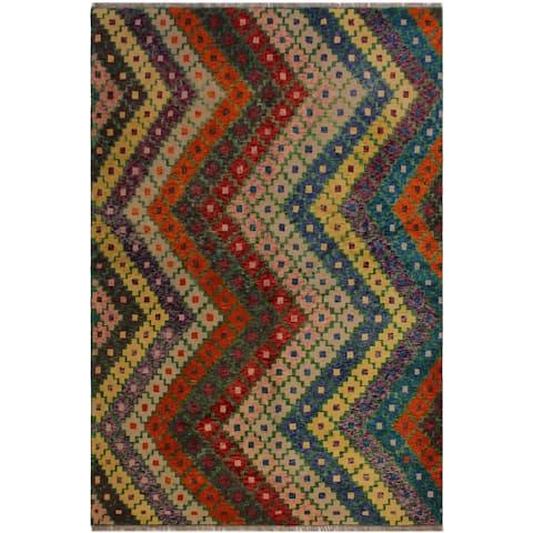 """Balouchi Arya Andres Blue/Orange Wool Rug (5'6 x 7'9) - 5'6"""" x 7'9"""""""
