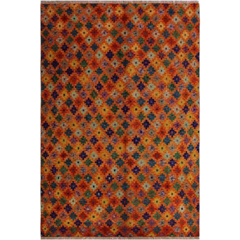 "Balouchi Arya Alisha Orange/Blue Wool Rug (4'10 x 6'6) - 4'10"" x 6'6"""