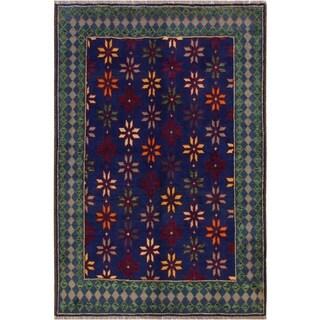 """Balouchi Arya Luigi Blue/Gray Wool Rug (5'0 x 6'6) - 5'0"""" x 6'6"""""""