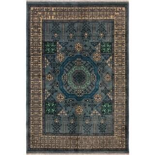 "Balouchi Arya Alise Gray/Blue Wool Rug (5'0 x 6'6) - 5'0"" x 6'6"""