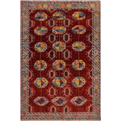 "Balouchi Arya Anastaci Drk. Red/Gray Wool Rug (3'8 x 5'9) - 3'8"" x 5'9"""