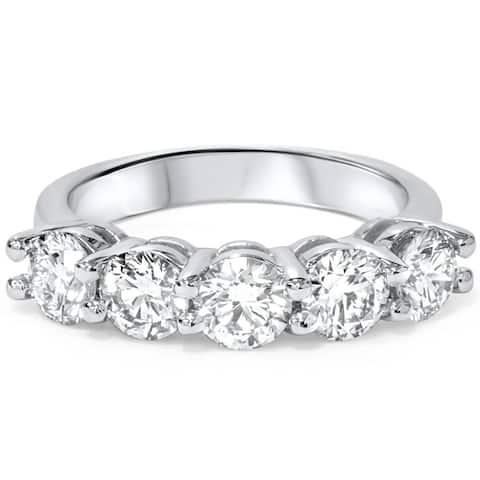 Pompeii3 Platinum 2 ct TDW Diamond Wedding Ring Five Stone Womens Anniversary Band