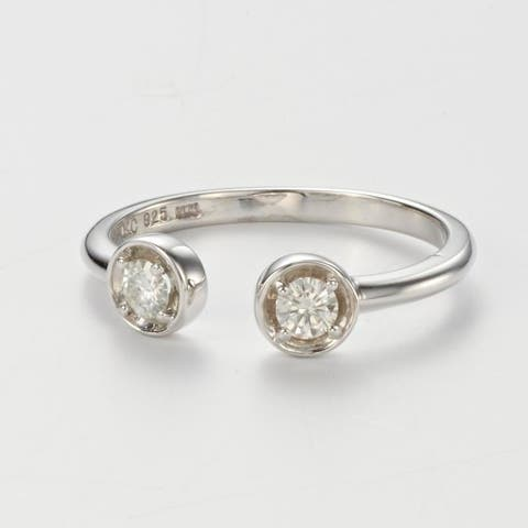 Charles & Colvard Sterling Silver 0.26 DEW Forever Classic Moissanite Round Bypass Stacker Ring