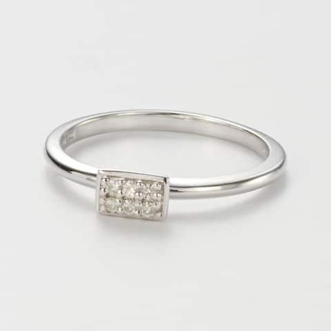Charles & Colvard Sterling Silver 0.08 DEW Forever Classic Moissanite Rectangular Pillow Ring