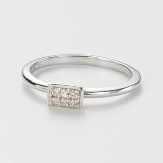 Charles Colvard Sterling Silver 0 08 DEW Forever Classic Moissanite Rectangular Pillow Ring