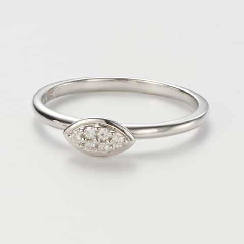 Charles & Colvard Sterling Silver 0.08 DEW Forever Classic Moissanite Marquise Pillow Ring