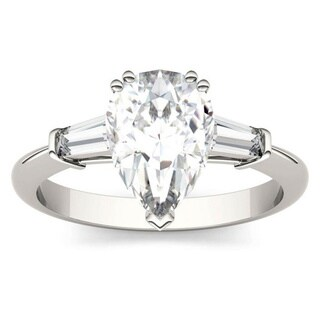 Moissanite by Charles & Colvard 14k White Gold 2.47 DEW Pear Solitaire Engagement Ring with Baguette Side Accents