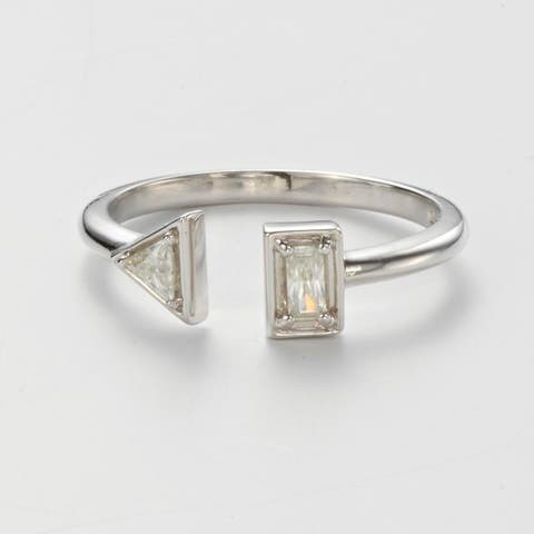 Charles & Colvard Sterling Silver 0.20 DEW Forever Classic Moissanite Triangle Bypass Stacker Ring