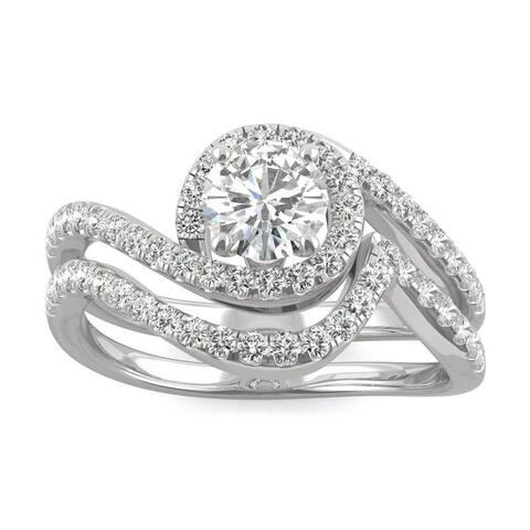 Moissanite by Charles & Colvard 14k White Gold 1.18 DEW Halo Bypass Wedding Ring Set