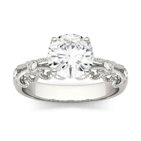 Moissanite by Charles & Colvard 14k White Gold 1.54 DEW Solitaire Engagement Ring