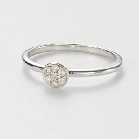 Charles & Colvard Sterling Silver 0.09 DEW Forever Classic Moissanite Round Pillow Ring