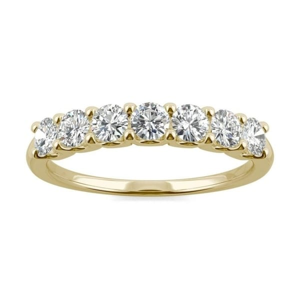 Moissanite by Charles & Colvard 14k Gold 0.70 TGWSeven Stone Anniversary Band. Opens flyout.