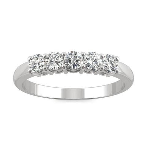 Moissanite by Charles & Colvard 14k Gold 0.50 DEW Five Stone Anniversary Band