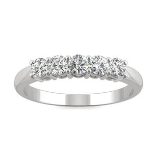 Moissanite by Charles & Colvard 14k White Gold 0.50 DEW Five Stone Anniversary Band