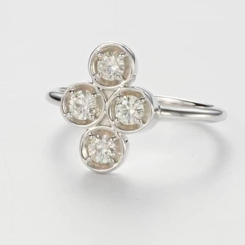 Charles & Colvard Sterling Silver 0.52 DEW Forever Classic Moissanite Clover Ring