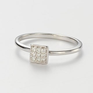 Charles & Colvard Sterling Silver 0.11 DEW Forever Classic Moissanite Square Pillow Ring