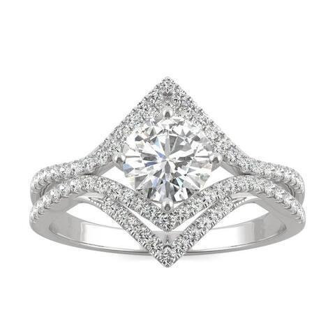 Moissanite by Charles & Colvard 14k White Gold 1.22 DEW Geometric Halo Ring