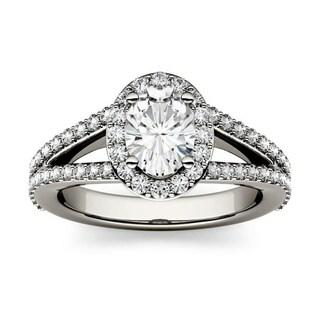 Moissanite by Charles & Colvard 14k White Gold 1.54 DEW Split Shank Halo Engagement Ring