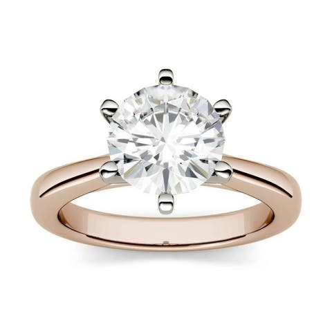 Moissanite by Charles & Colvard 14k Rose Gold 1.90 DEW Solitaire Engagement Ring