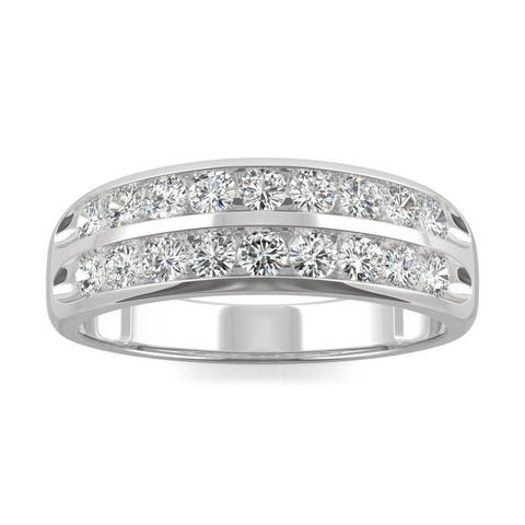 Moissanite by Charles & Colvard 14k White Gold 0.72 DEW Two Row Channel Set Band
