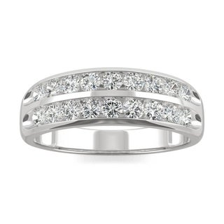 Link to Moissanite by Charles & Colvard 14k White Gold 0.72 DEW Two Row Channel Set Band Similar Items in Rings