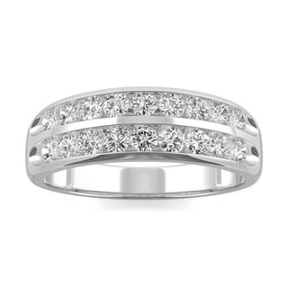 Moissanite By Charles Colvard 14k White Gold 0 72 DEW Two Row Channel Set Band