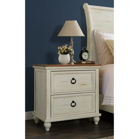 Martin Svensson Home Pine Creek White, Honey-wash Two-drawer Nightstand