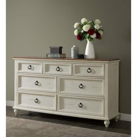 Martin Svensson Home Pine Creek Antique White/Honey Wood 7-drawer Dresser