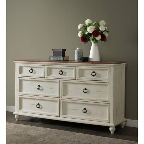 Martin Svensson Home Pine Creek Antique White/Honey Wood 7-drawer Dresser