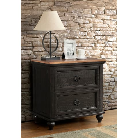 Martin Svensson Home Pine Creek 2 Drawer Nightstand, Black and Honey Tobacco