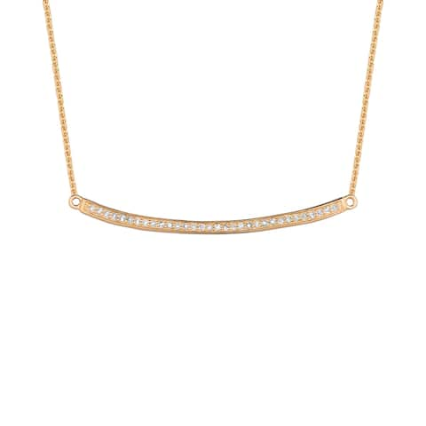 14KT Gold and Diamond Curved Bar Fashion Necklace