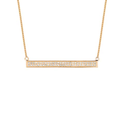 14KT Gold and Diamond 2-Row Bar Fashion Necklace