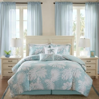 Harbor House Palm Grove Blue Cotton Printed 6 Piece Comforter Set