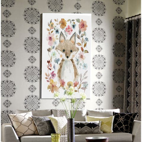 Flowers and Friends Fox -Premium Gallery Wrapped Canvas
