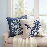 Harbor House Rift Coral Linen Embroidery Square Dec Pillow