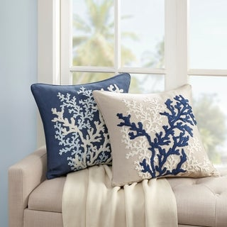 Harbor House Rift Coral Linen Embroidery Square Dec Pillow