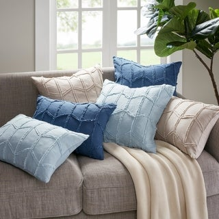 Harbor House Frayed Geo Linen Decorative Pillow