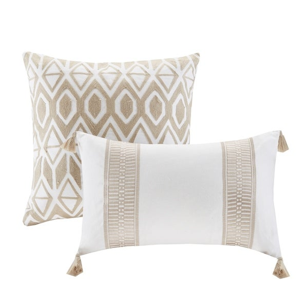 Harbor House Anslee Taupe Embroidered Cotton Decorative Pillow
