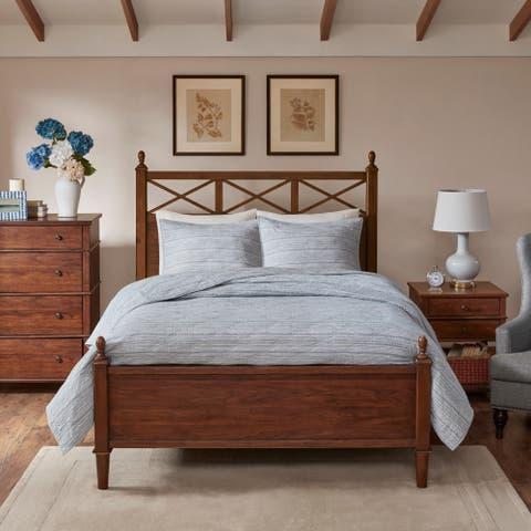 Harbor House Ida Blue 3 Piece Cotton Yarn Dyed Coverlet Set