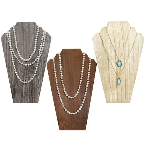 Ikee Design Wooden Jewelry Display Bust with Easel for 2 Necklaces, Available in 3 colors