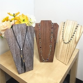 Wooden Jewelry Display Bust with Easel, Available in 3 colors