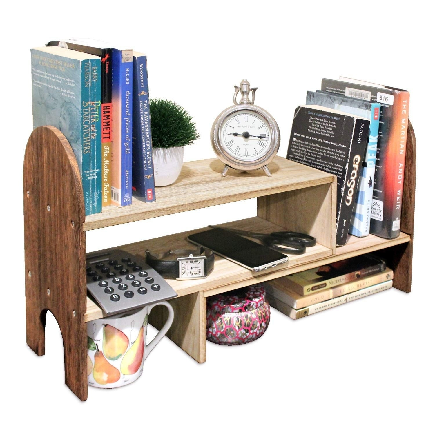 Ikee Design Adjustable Desktop Organizer Shelf Rack Counter Bookcase